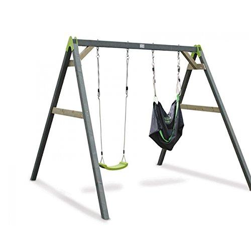 Preisvergleich Produktbild EXIT Aksent Doppelschaukel (2 Sitze) und 1 SwingBag grün-schwarz / Material: Nordisches Fichtenholz / Maße: 235x265x217 cm / Gewicht: 40 kg