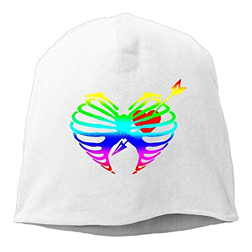 VYPHN Rainbow Archery Heart Hunting Unisex Knit Hat Soft Stretch Beanies Skull Cap Hedging Cap Black