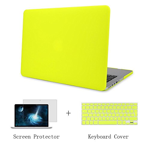 Batianda - 3 in 1 MacBook Air 13 Matte Ultra dünne Hard Case Cover & Tastaturabdeckung & Display Schutz für MacBook Air 13,3 Zoll [Modell: A1466 und A1369] - Neon Gelb (Neon Macbook Air 13 Zoll Case)