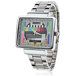 Unisex TV Style Dial Silver Alloy Band Analog Quartz Wrist Watch