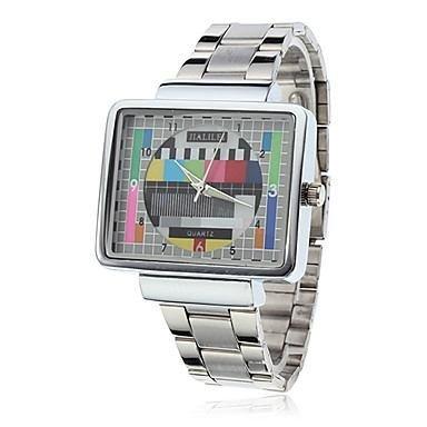 Unisex TV Style Dial Silver Alloy Band Analog Quartz Wrist Watch