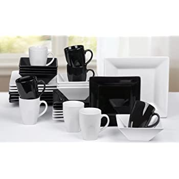 32 Piece Boston Black/White Sharp Square Dinner Set  sc 1 st  Amazon UK : black square plate set - pezcame.com