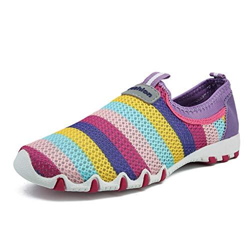 Vovotrade Trendige Damen Laufschuhe Schnür Sneaker Sport Fitness Turnschuhe Großes, gestreiftes, atmungsaktives Mesh in Candy-Farbe