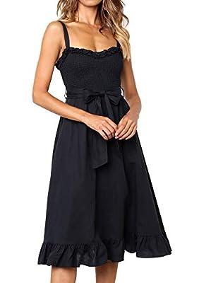 Yidarton Women Summer Dresses Casual Spaghetti Strap A Line Ruffles Beach Midi Dress with Belt