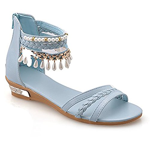 Sandali Flat Estivi - LATH.PIN Sandali da moda Donna Casual Scarpe di PU con Perle Pantofole Boemia Dolci