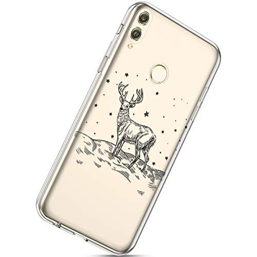 Handytasche Huawei Honor 8X Max Crystal Clear Durchsichtige Hülle Ultradünn Transparent Handyhüllen TPU Bumper Case Silikon Hülle Cover,Weihnachten Elch