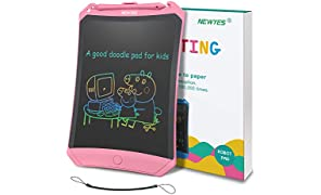 NEWYES LCD Writing Tablet Robot Pad, Colorful Display, 8.5 Inch, with Lock Switch (Pink)
