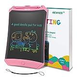 NEWYES Tableta de Escritura LCD a Color 8.5 Robot Pad e-Writer Digital, Bloc de Notas electrónico con tecla de Bloqueo, imanes, Cuerda (Rosa - líneas Coloridas)