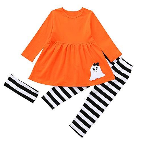 Riou Kinder Langarm Halloween Kostüm Top Set Baby Kleidung Set Kleinkind-Baby-Mädchen-Geist Kleidet Gestreifte Hosen-Halloween-Kostüm-Ausstattungen Eingestellt (130, Orange)