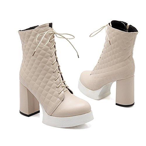 AllhqFashion Damen Niedrig-Spitze Blockabsatz Reißverschluss Hoher Absatz Stiefel Cremefarben