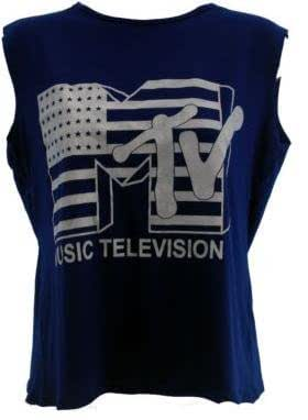 LADIES MTV MUSIC TELEVISION PRINT SLEEVELESS CROP TOP WOMEN CROPPED T SHIRT ALL COLORS 8-14 (M/L 12-14, ROYAL BLUE)