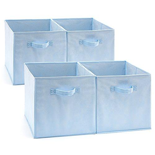 EZOWare Aufbewahrungsbox, 4er-Set Faltbare Aufbewahrungskiste ohne Deckel (33 x 38 x 33 cm) (Baby blau)