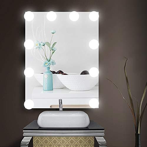 LED Spiegelleuchte, Spiegelleuchte Schminklicht Hollywood Stil Dimmbar 10 LED, Spiegellampe Make up Licht Spiegel Beleuchtung für Schminkspiegel Schminktisch Leuchte Licht