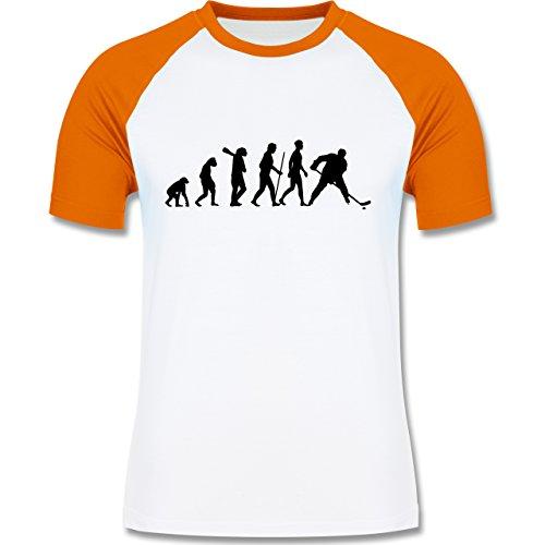 Evolution - Eishockey Evolution - zweifarbiges Baseballshirt für Männer Weiß/Orange