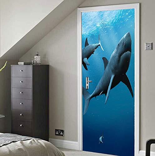 Lxhlxn adesivi per porte squalo 3d murale decorazione per la casa carta da parati in vinile ordina direttamente dalla fabbrica