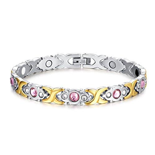 Preisvergleich Produktbild WenL Frauen Titanstahl Magnetic Swarovski-Kristallen Armband (22cm)