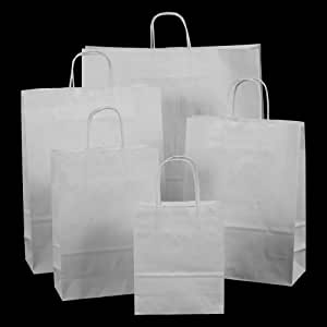 300x White Paper Carrier Bags with Twisted Handles - 18x22x8cm