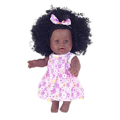 mxjeeio 30cm Puppe Kindersimulation Baby Afrikanische Dolls der Babypuppe Kindheit-Partner-Puppe Dress up Spiel Baby Mädchen Spielzeug Dolls Toys Lifelike
