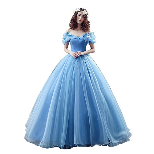 rukleid Wowen farfalla in cristallo tessuto di organza con appliques principessa Cenerentola pavimento lunghezza matrimoni, feste da ballo abito Blue 44