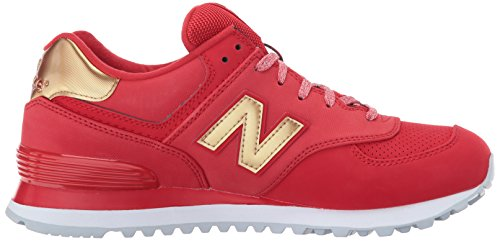 New Balance Womens 574 Varsity Sport Synthetic Trainers Team Red Metallic Gold