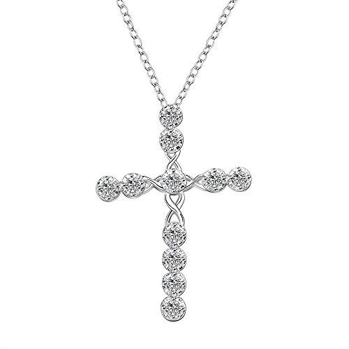 Dünne Halskette Kreuz (Styleziel Damen Halskette 925 Silber pl mit Kreuz Anhänger Zirkonia Kristalle 45cm 1498)