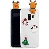 Für Samsung Galaxy S9 Plus Weihnachten Series Fall Abdeckung, HengJun Weihnachten Slim Soft Silikon Fall 3D Kreative Mode Coole Cartoon Nette Shockproof Gummi Fall für Samsung Galaxy S9 Plus - Hirsch & Weihnachtsmann weiß