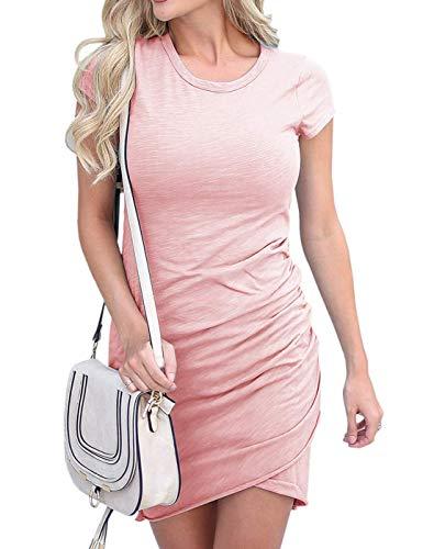 Woweal Sommer Damen Kurz Kleid mit Bandagen Sexy Rückenfrei Kleider Trägerkleid für Nachtclub Club Mode Einfarbig Etui Kleid Partykleider Abendkleider Cocktailkleid Wickelkleider (M, Pink2)