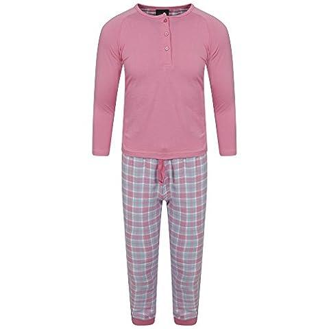 Girls Long Pyjama 2 Piece Set Pjs Pj's Jersey Top Woven Flannel Trousers Pants Gift Presents Size UK 3-13 Years (9-10)