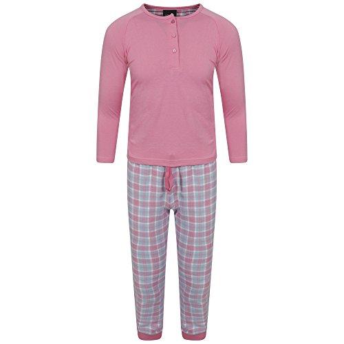 Mädchen Lange Pyjama 2 Stück Set Pjs Pj's Jersey Top Woven Flanell Hose Hosen Geschenk Geschenke Größe 3-13 Jahre (3-4) Rosa (Hose Pyjama Flanell Set)