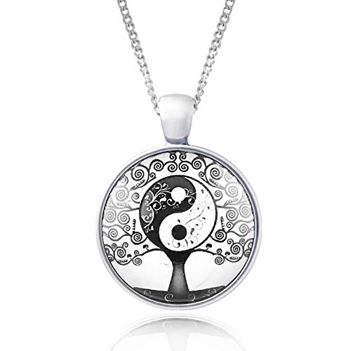 Klimisy - Lebensbaum-Yin-Yang Halskette mit Anhänger - Buy one & Plant one Tree - Hochwertige Kette aus Edelstahl mit Anhänger aus Glas - Eco & Fair