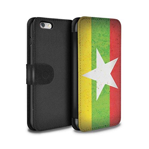 STUFF4 PU-Leder Hülle/Case/Tasche/Cover für Apple iPhone 8 / Georgien/Georgisch Muster / Asien Flagge Kollektion Myanmar/Burma