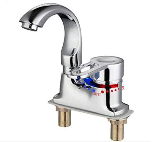 Robinet de bassin en cuivre à double trou Robinet rotatif à eau chaude et froide Robinet à double trou à trois trous pour lavabo