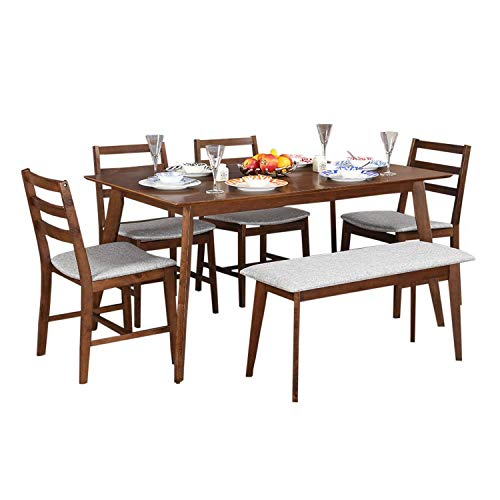 8b7b4635000 72% Hometown Allen 6 Seater Dining Table Set with Bench (Light Walnut)