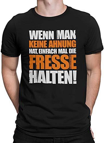 vanVerden Herren T-Shirt Keine Ahnung Fresse halten lustiges Funshirt, Größe:XL, Farbe:Schwarz/Orange