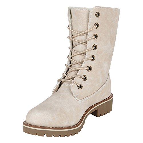 Stiefelparadies Damen Worker Boots Warm Gefütterte Stiefeletten Outdoor Schuhe Profilsohle Camouflage Stiefel Winterschuhe Übergrößen Flandell Creme Matt