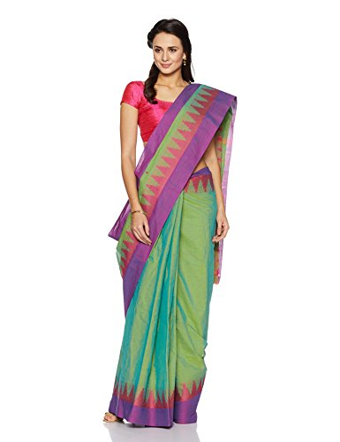 IndusDiva Green Chettinad Cotton Handloom Saree(TLN0100083_Green_One Size)