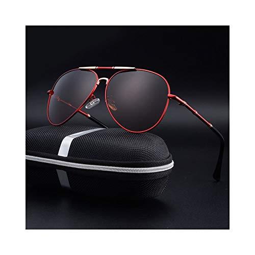 WULE-RYP Polarisierte Sonnenbrille mit UV-Schutz Herren Radsport Trend Sonnenbrille mit polarisierter Linse, Etui. Superleichtes Rahmen-Fischen, das Golf fährt (Farbe : Red/Brown)