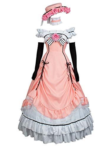 Cosfun Black Butler Ciel Phantomhive Pink Lolita Cosplay Kostüm mp004139 - rosa - Damen (Ciel Cosplay Kostüm)