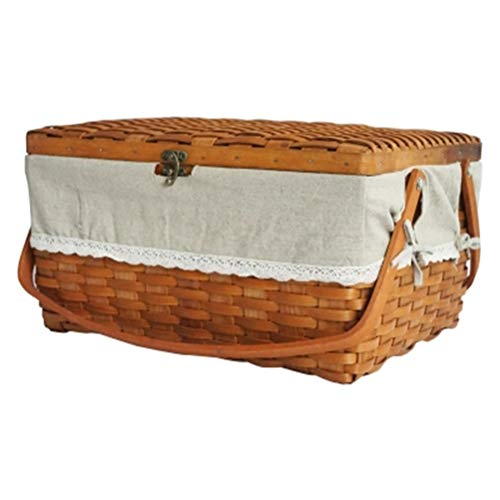 Wicker Outdoor-lagerung (AosyGFR Pastorale Holz Picknickkorb Outdoor Camping Home Storage Lagerung)