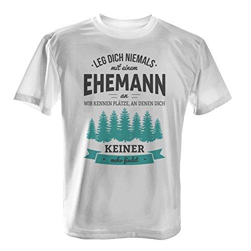 Fashionalarm Herren T-Shirt - Leg dich niemals mit einem Ehemann an | Fun Shirt mit Spruch als Geburtstag Jahrestag Geschenk Idee für Verheiratete Weiß