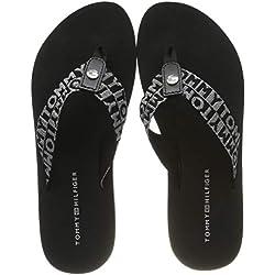 Tommy Hilfiger Flat Beach Sandal Shiny Jacquard, Chanclas para Mujer, Negro (Black 990), 39 EU