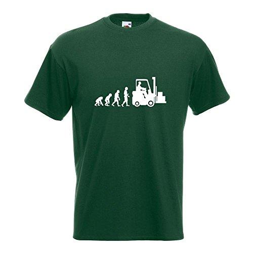 KIWISTAR - Evolution Gabelstapler T-Shirt in 15 verschiedenen Farben - Herren Funshirt bedruckt Design Sprüche Spruch Motive Oberteil Baumwolle Print Größe S M L XL XXL Flaschengruen