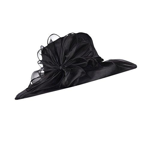 Luck Adulte Femme Fille Chapeau de Plage Bibi Bord Large Ornée Fleur Mariage Rétro Noir