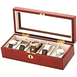 Luxury Cherry Wood Finish 5 Watch Display Case Storage Box Wooden Watchbox