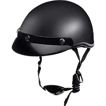 Delroy Motorradhelm, Halbschalenhelm, Jethelm für Damen und Herren, Braincap, Helmschale aus Polycarbonat, waschbare Polster, inklusive abnehmbarem Schirm, Schnellverschluss, matt Schwarz, XL
