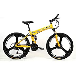 21 Velocidad Unisexo Bicicleta de montaña de Doble suspensión 26 Pulgadas Rueda Integral Estudiante Niño Ciudad del Viajero Freno de Disco Doble Bicicleta Plegable,Yellow