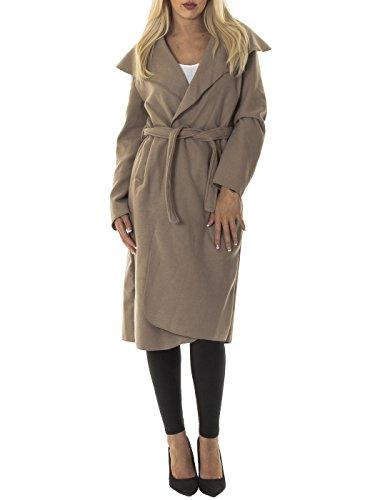 Janisramone femmes célébrité cascade drapé ceinturé fashion veste abaya manches longues Cap Long de moka