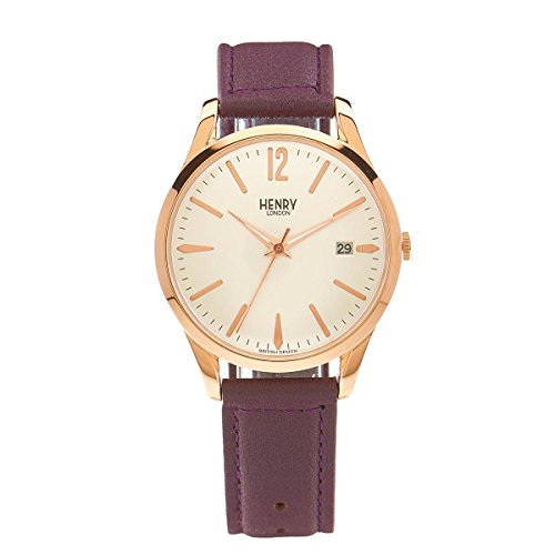 Henry London ltext-Orologio da polso al quarzo in pelle Hampstead HL39 - S-0082