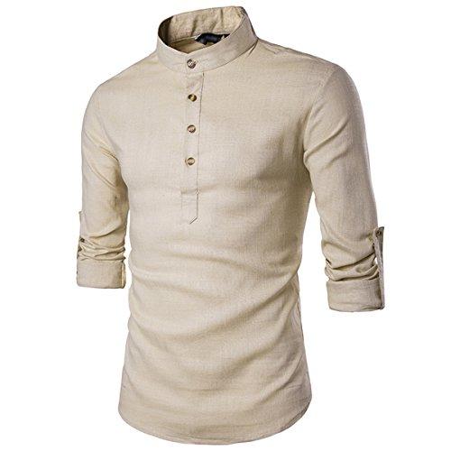 Sue&Joe Men's Henley Shirt Roll Up Solid Long Sleeve Linen Stand Collar Shirts