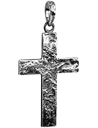 Kuzzoi Silver / Black Oxidised Cross Pendant for Chains, Made of Solid 925 Sterling Silver, 54 mm High, 7 g Heavy, Very High Quality and Exclusive 361385-000